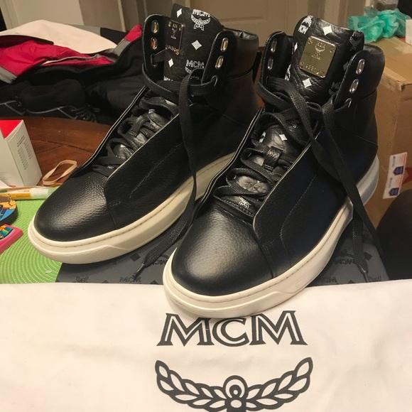 d1e4ab64d9a MCM Men's Visetos-Trim Leather High-Top Sneakers NWT